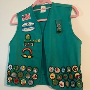Vintage Girl Scout vest with patches & pins!